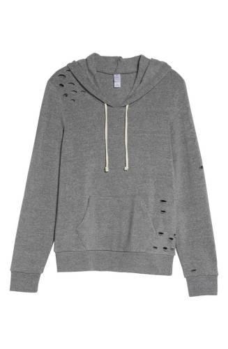 gray distressed hoodie