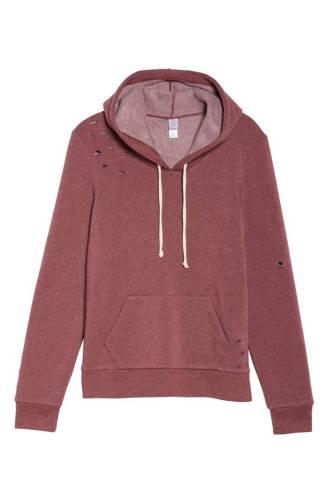 maroon distressed hoodie